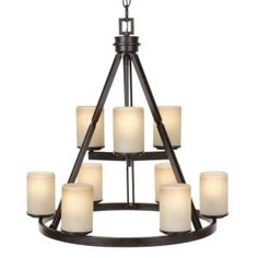 Hampton Bay Alta Loma 9 Light Dark Ridge Bronze Chandelier With Irised Scavo Glass Dining Room