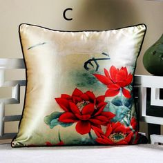 Red lotus throw pillows for couch Chinese style flower sofa cushion