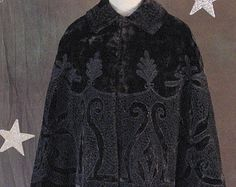 Victorian Plush Winter Cape with Soutache Embroidery and Jet Beads, Steampunk, Gothic
