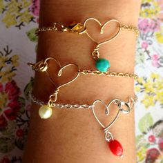 Wire heart bracelet with bead charm gold or by WiredJewelrybyJenna, $10.00