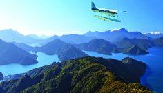 Flying over Marlborough Sounds, NZ