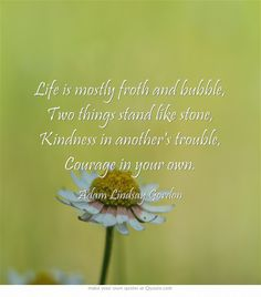 Life is mostly froth and bubble, Two things stand like stone, Kindness in another's trouble, Courage in your own.