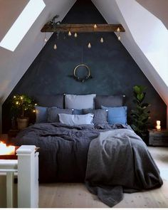 Blue Bedroom Decoration Ideas to Bring Perfection in Your Private Room - Wohnideen - Schlafzimmer Bedroom Loft, Dream Bedroom, Home Decor Bedroom, Dark Cozy Bedroom, Diy Bedroom, Bedroom Furniture, Dark Blue Bedroom Walls, Modern Bedroom, Attic Bedroom Small