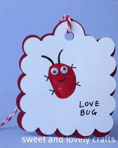 sweet and lovely crafts - two pieces of construction paper, one red and one white - put a secret note on the inside - children fingerprint for the bug