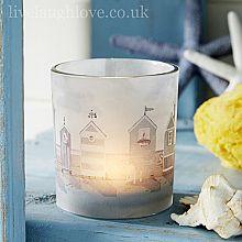 Beach Hut Shore Line Glass Tea Light Holder