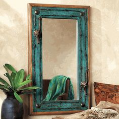 Turquoise Old Ranch Mirror with Hooks