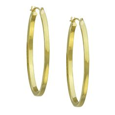 Stanley 14k Gold Oval Polished Square Tube Hoop Earrings