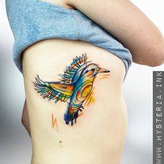 Kingfisher , bird , water color , tattoo