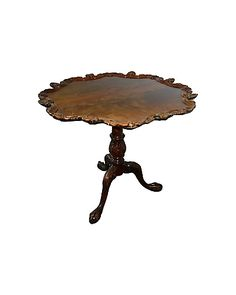 A veneered tripod pedestal table with a piecrust-style carved top. Scallop Shells, Classic Beauty, Tripod, Georgian, Pedestal, Tables, Dining Table, Carving, Antiques