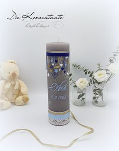 Diy Candles, Pillar Candles, Baptism Candle, Baby Kind, Christening, Place Card Holders, Kids, Inspiration, Baby Boys