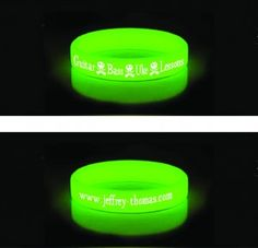 Who can resist a glow in the dark wrist band promoting my Skype guitar, bass and ukulele lessons?  $4.00 postage included anywhere in the U.S.  I also have black and orange available:  www.jeffrey-thomas.com