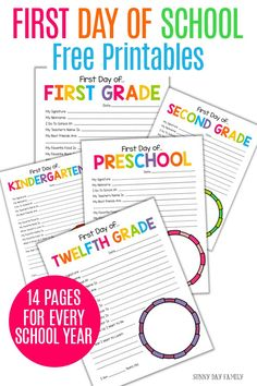 These All About Me first day of school free printables for every year make the perfect school days keepsake! Perfect first day of school activity for parents and for the classroom. Fun back to school idea for moms and teachers! Make a great keepsake or a fun gift idea. Includes 14 total printables for every school year. #firstdayofschool #backtoschool #freeprintables #forkids
