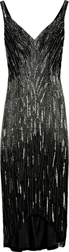 L'Wren Scott ● Black Beaded and Sequined Crepe Dress