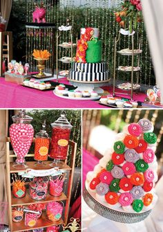Curtain of bling + fondant flowers + colorful candy = awesome!