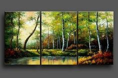 Hand Painted Art Oil Painting on Canvas Forest and River Painting 3 Piece Wall Art Abstract Painting Modern Art Large Painting Gallery Wrapped Stretched and Ready to Hang Landscape Paintings, Tree Painting Canvas, Hand Painting Art, Wall Art Painting, Painting, Tree Of Life Painting, Huge Wall Art, 3 Piece Canvas Art, Large Canvas Painting