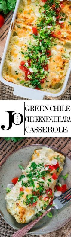 This Green Chile Chicken Enchilada Casserole can be on your dinner table in 30 minutes! It doesn't get any easier than these chicken enchiladas, they're creamy, cheesy and perfect!