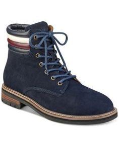 Tommy Hilfiger Men's Halle Lace-Up Lug Sole Boots - Blue 11.5