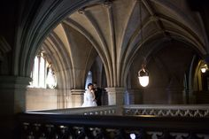 Bride and groom at the romantic Knox College