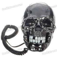 Unique Skull Skeleton Shaped Land Line Telephone - Black