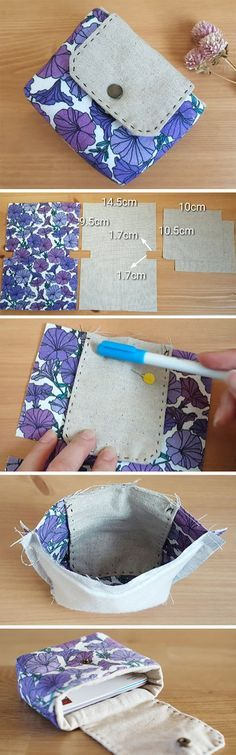 How to Make a Gift & Business Card Wallet. Card Pouch Organizer – Free Sewing Pattern & Tutorial.  http://www.handmadiya.com/2016/10/easy-basic-wallet-tutorial.html