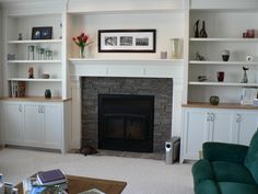 fireplaces with bookshelves on each side | Shelves By Fireplace