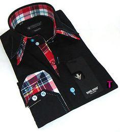 Brand New Mens Formal, Smart Italian Design Black Double Collar Slim Fit Shirt