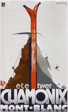 Poster for the Chamonix/Mont Blanc region of the Graian Alps in France, a Mecca for skiing and climbing. Illustration by Henry Reb, Vintage Ski Posters, Vintage Advertising Posters, Vintage Advertisements, Evian Les Bains, Chamonix, Railway Posters, Travel Images, Illustrations, Framed Wall Art