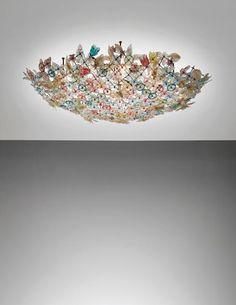 Murano Glass ceiling light by Flavio Poli