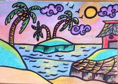 Coastal memories.... Coloured pencil illustrations