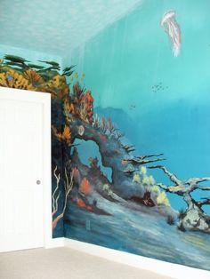 Under water kids room mural by: ARTist Robert S. Lindsey  www.bettermurals.com