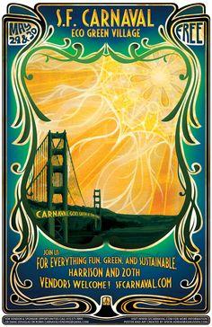 """San Francisco Carnaval Eco Green Village"" poster"