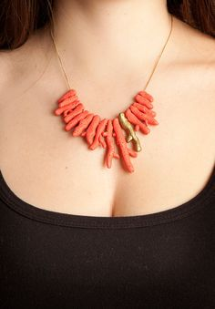 Coral and gold branch necklace