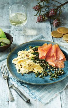 Smoked salmon and eggs with capers and quinoa crackers.