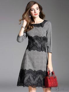 Super Vintage Lace Stitching O-Neck Skater Kleid – Naomi Brele – … - Kleider Sewing Dresses For Women, Stylish Dresses, Simple Dresses, Nice Dresses, Clothes For Women, Formal Dresses, Work Dresses, Dress Sewing, Dresses Dresses