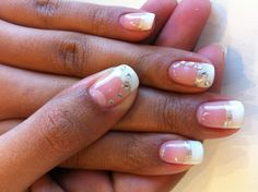 Classic French manicure with rhinestone accents. Base colour is Bio Sculpture Gel #87 - Strawberry French, silver thin strips in #138 - Melting Mercury