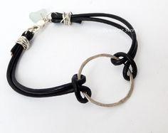 Sterling Silver Sea Glass Leather Bracelet. $29.00, via Etsy.