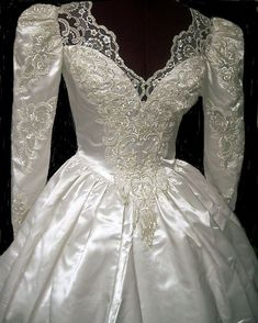 2nd Wedding Dresses, Beautiful Wedding Gowns, Gown Wedding, Lace Wedding, Vintage Gowns, Vintage Bridal, Satin Dresses, Elegant Dresses, Bridal Style