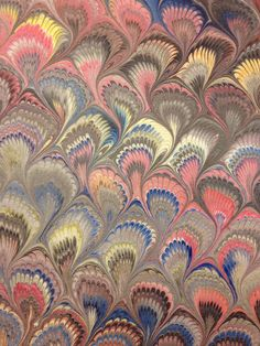 Marbleized paper peacock