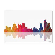 Boston Massachusetts Skyline II by Marlene Watson Graphic Art on Wrapped Canvas