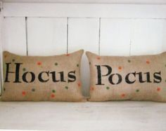 Halloween pillows, burlap pillow, decorative pillows, halloween, fall throw pillows, hocus pocus, autumn decor, holiday decor