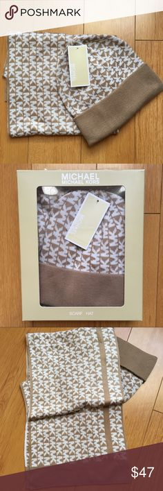 MICHAEL Michael Kors Scarf and Beanie Gift Michael Kors scarf and beanie gift set  🔹tan/camel brown with cream MK Print 🔹gift box included 🔹MSRP $88 🔹makes a great holiday gift! 🎁  ❤️Fast shipping!  ❤️Posh Ambassador/Suggested User MICHAEL Michael Kors Accessories Scarves & Wraps