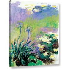 Claude Monet Agapanthus Gallery-Wrapped Canvas, Size: 36 x 48, Purple