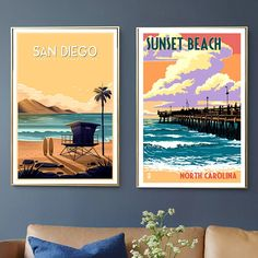 """""""San Diego California Sunset Beach Travel Canvas Paintings Vintage Wall Kraft Poster Coated Wall Stickers Home Decor Picture Gift"""" Vintage Wall Art, Vintage Walls, Sunset Beach California, Beach Trip, Beach Travel, San Diego Beach, Picture Gifts, Wall Stickers Home Decor, Home Decor Pictures"""