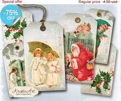 75% OFF SALE Christmas Time Tags  Digital by KristieArtDesign
