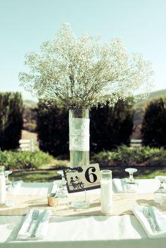 Romantic Baby's Breath + Custom Table Numbers   Romantic Wedding   Lovelyfest Event Design   San Luis Obispo, California Wedding
