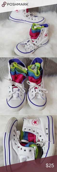 2.5 girls multi lip converse high top sneakers Very cute multi tongue sneaker for girls. Cute colorful colors on white sneaker. Great condition but have been previously used so have some wear. Converse Shoes Sneakers