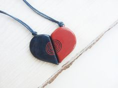 Half heart pendants Lovers pendant set Two hearts necklace Half heart necklacle Family pendant set Valentines gifts Puzzle necklace set