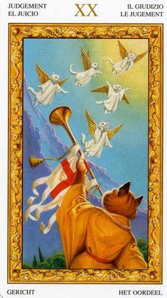 XX - Le jugement - Tarot chats blancs par Severino Baraldi