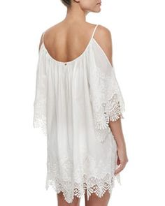 TA1M3 PilyQ Serena Embroidered-Trim Coverup Dress