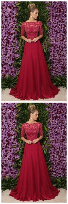 Eleagnt A Line Half Sleeves Burgundy Prom Dress , Charming Prom Dress With Beads  by olesaweddingdresses, $143.48 USD Lace Evening Dresses, Prom Dresses, Formal Dresses, Prom Date, Wedding Veil, Simple Outfits, Half Sleeves, Dress Making, Party Dress